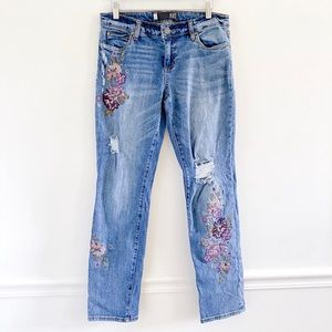 Kut from the Kloth Embroidered Floral Jeans